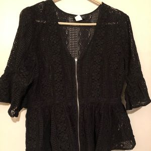 Black zip-up cover up/sweater - size 14